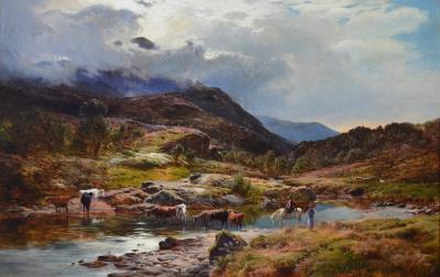 Sidney Richard Percy Llanberis Pass North Wales Large 19th Century Exhibition Oil Painting