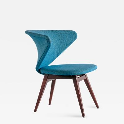 Sigfrid Ljungqvist Sigfrid Ljungqvist Wing Shaped Chair Petrol Blue Fabric and Beech Sweden 1958