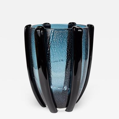 Signed 1950s Navy Murano Vase