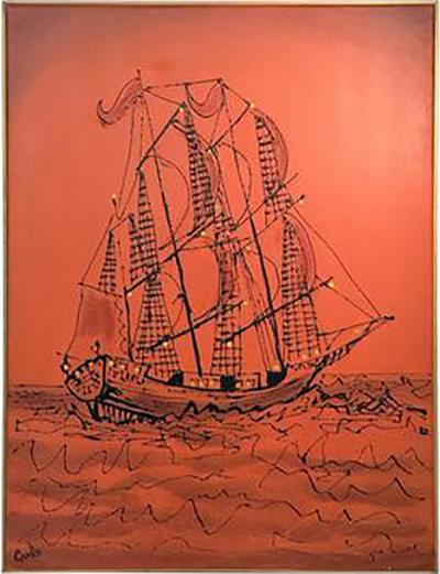 Signed Great Brutalist Bright Orange Pirates Galleon Oil Painting
