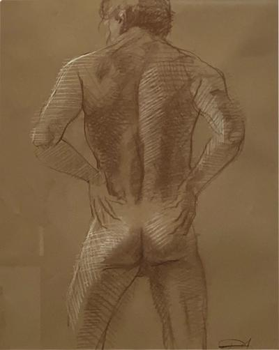 Signed Vintage Pastel of Nude Male Circa 20th Century