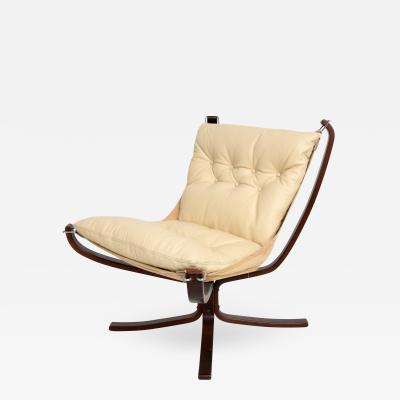Sigurd Ressell 1970s Modern FALCON Chair by Sigurd Ressell for Vatne M bler in Ivory Leather