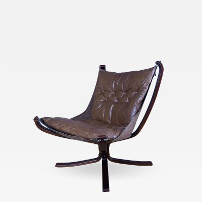 Sigurd Ressell 1970s Sigurd Ressell Low Back Leather Falcon Chair