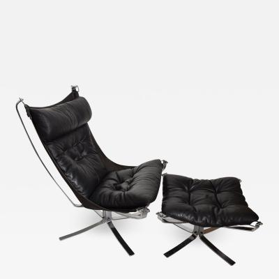 Sigurd Ressell Falcon Leather Lounge Chair Ottoman Chrome Frame by Sigurd Ressell NORWAY