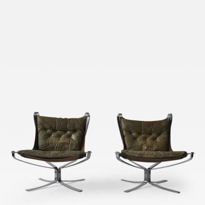 Sigurd Ressell Pair of Sigurd Ressell Leather Falcon Chairs