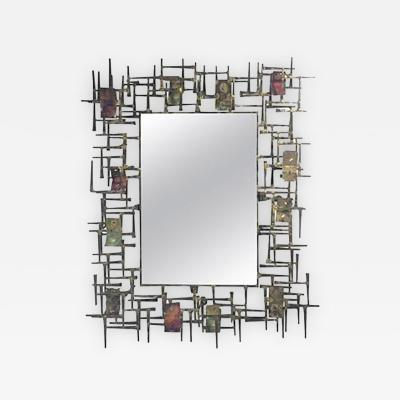 Silas Seandel Amazing Brutalist Nail and Metal Mirror in the manner of Silas Seandel