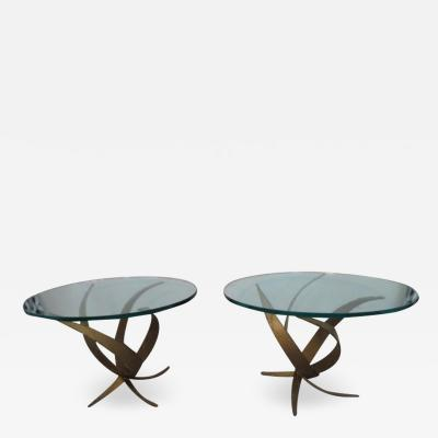 Silas Seandel Exceptional Pair of Brutalist Side End Tables by Silas Seandel Midcentury