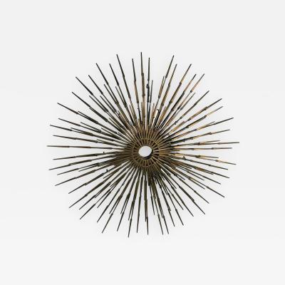 Silas Seandel Gorgeous Brutalist Goldtone Metal Starburst Wall Sculpture