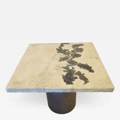 Silas Seandel Rare Silas Seandel Concrete and Bronze Terra Breakfast Card Table