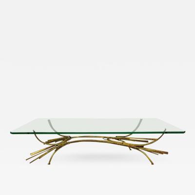 Silas Seandel Sculptural Brutalist Gilt Coffee Table in the Manner of Silas Seandel 1970s