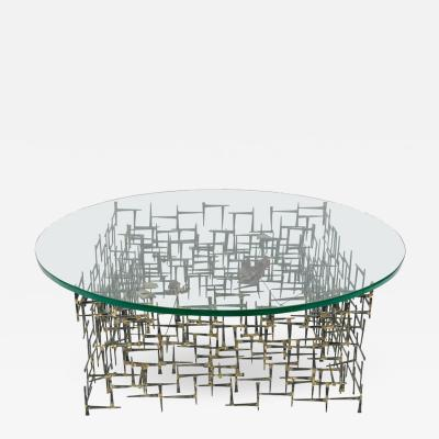 Silas Seandel Silas Seandel Midcentury Brutalist Nail Coffee Table with Glass Top USA 1970s