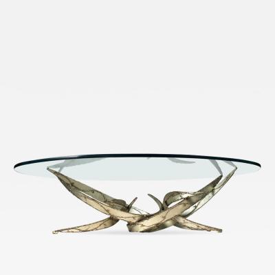 Silas Seandel Silas Seandel Silver Leafed Brutalist Coffee Table