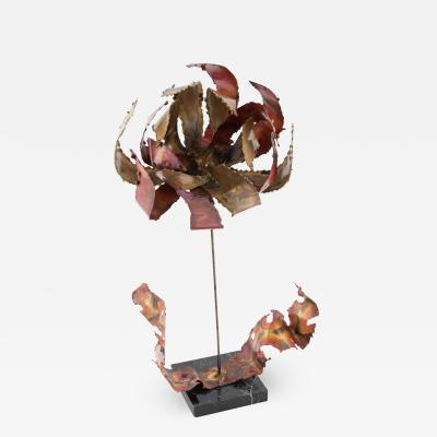 Silas Seandel Silas Seandel steel copper and brass flower sculpture circa 1970s