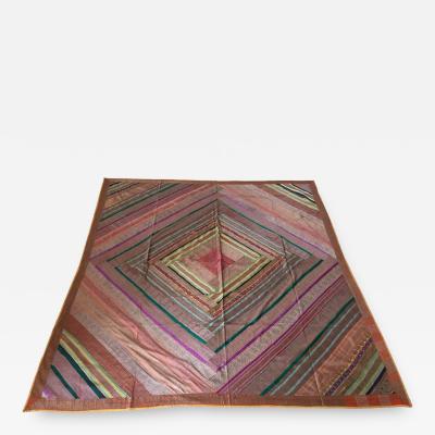 Silk Sari Textile Quilt Patchwork India