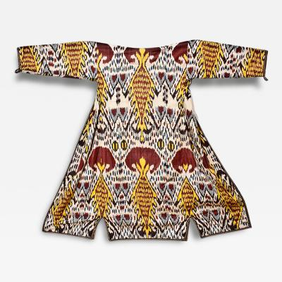 Silk Woven Ikat Kaftan Robe Central Asia