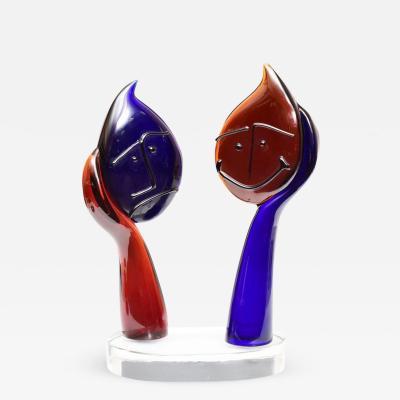 Silvano Signoretto Happy And Sad Face Murano Glass Sculpture