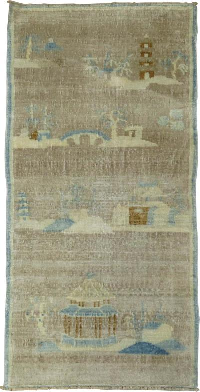 Silver Brown Baby Blue Chinese Art Deco Mat rug no 31295