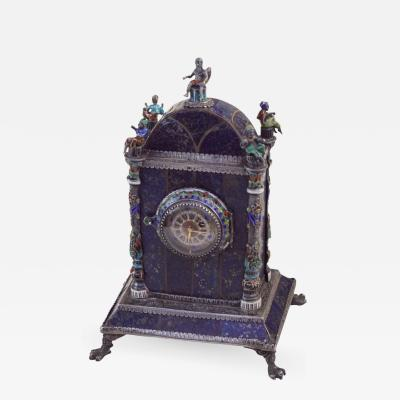 Silver Enamel and Lapis Lazuli Table Clock by Hermann Bohm
