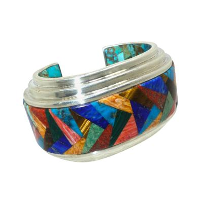 Silver Large Mexican Cuff Bracelet