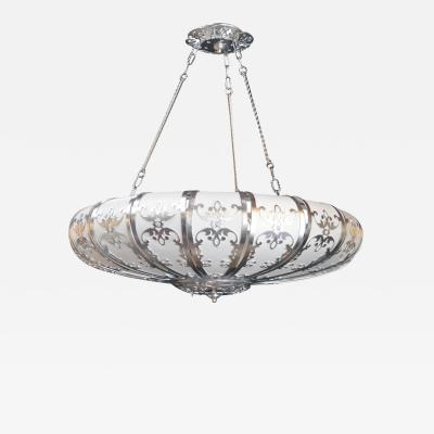 Silver Leafed UFO Style Chandelier