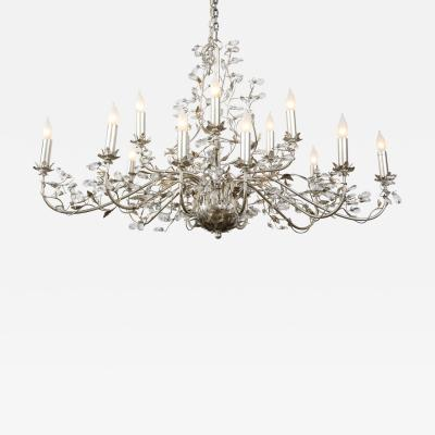 Silver Metal Glass Floral Design Chandelier