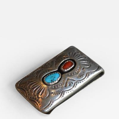 Silver Money Clip with Inset Stones and Engravings