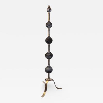 Silver Plated Floor Lamps with Art Glass Body Elements