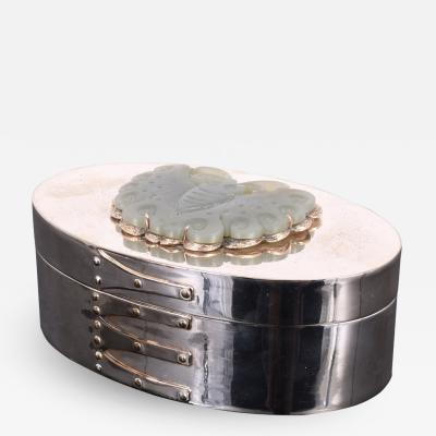Silver Trinket Box with Carved Stone Butterfly Relief