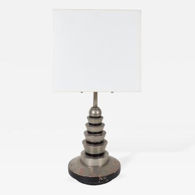 Silver and Black Painted Stepped Wooden Art Deco Lamp