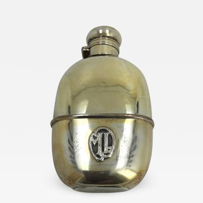 Silver and Vermeil and Glass Flask 20th Century with Initials ML