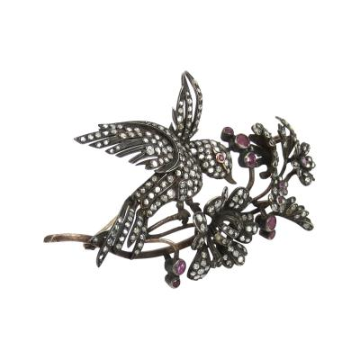 Silver on gold rose diamond bird pin
