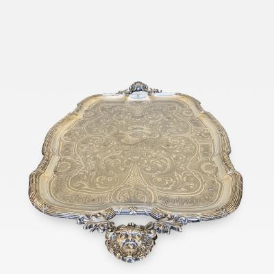 Silver plated metal tray Levrat
