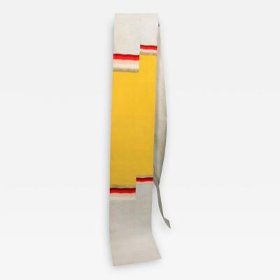 Silver yellow silk japanese obi with red gold orange white geometric design