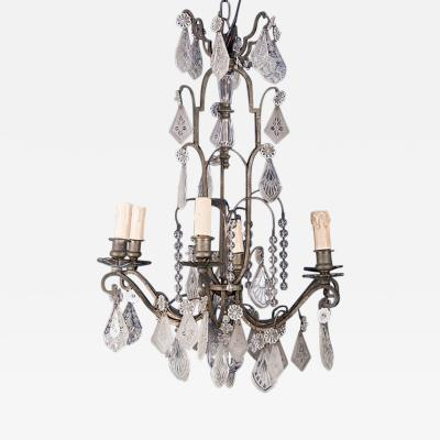 Silvered Bronze 6 Light Chandelier with Etched Crystals