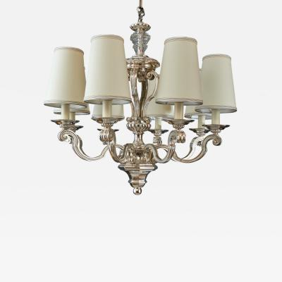 Silvered Bronze Neo Classical Chandelier France 1950s