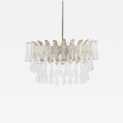 Silvered Chandelier with Glass Drops by Palwa Germany 1960s