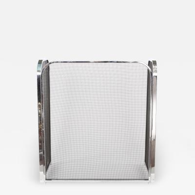 Silvered Framed Mesh Interior Fire Place Screen