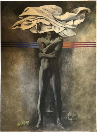 Silvio Benedetto Metaphysic Huge Oil on Canvas circa 1970