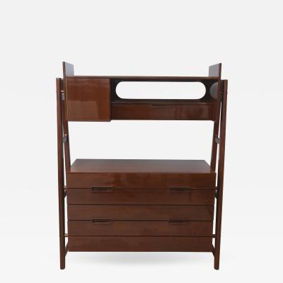 Silvio Cavatorta Italian Modern Mahogany Chest of Drawers with Bookcase Super Structure