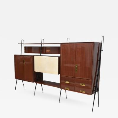 Silvio Cavatorta Italian Modern Mahogany and Brass Bar Cabinet or Bookcase Silvio Cavatorta