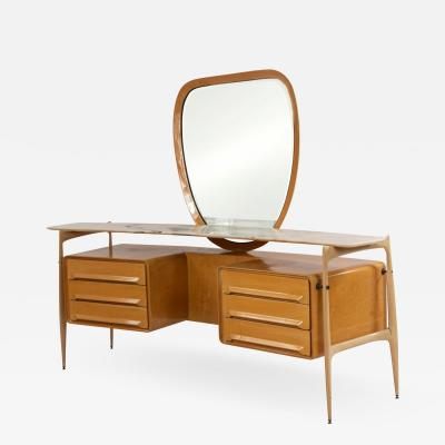 Silvio Cavatorta Silvio Cavatorta Italian Mid Century Maple Vanity Mirror
