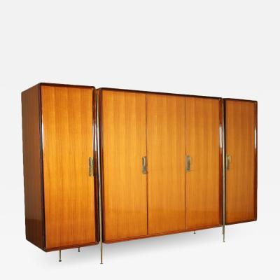 Silvio Cavatorta Wardrobe Silvio Cavatorta Veneered Wood Brass Polyester Italy 1960s