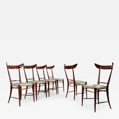 Silvio Cavatorta stunning set of six 1950s chairs