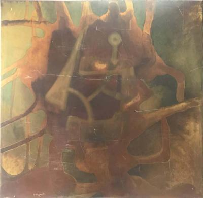 Silvio Giovenetti Acid Atched Abstract Painting on Steel 1972