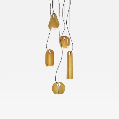 Silvio Mondino Tessere Handcrafted Polished Solid Brass 5 Element LED Pendant Chandelier