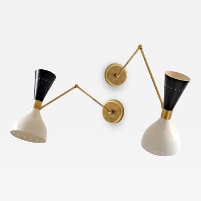 Silvio Piattelli Articulated Sconce Mid Century Modern Stilnovo Style Solid Brass Black and White