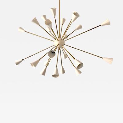 Silvio Piattelli Oval Brass Sputnik Chandelier 24 Lights Ivory Shades in the Stilnovo Style