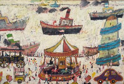 Simeon Stafford Fun Fair On The Harbour Wall by Simeon Stafford