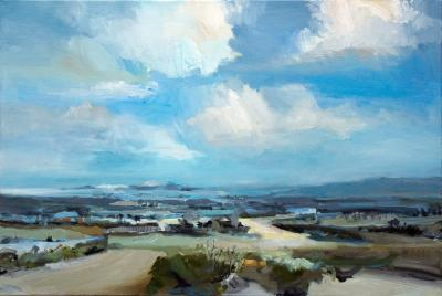 Simon Andrew Landscape With Distant Lake