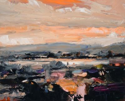 Simon Andrew Ontario Landscape with Orange Sky